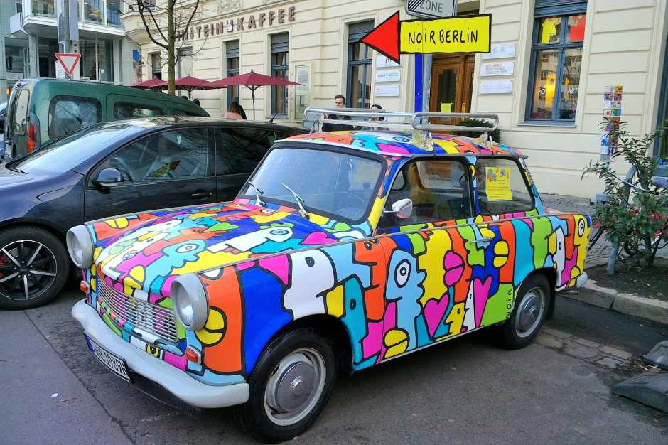 Most Trabis in Berlin today have been updated with artistic paint jobs.