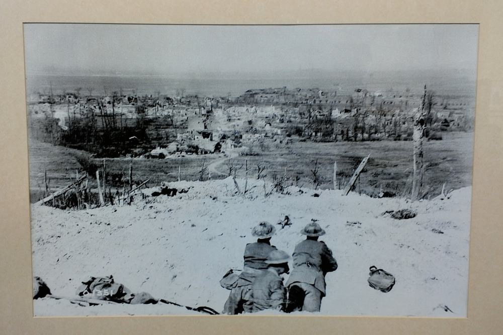 View over the crest of Vimy Ridge showing the village of Vimy, which was captured by Canadian troops.